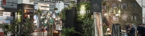 The Love Home Fabrics booth with Symphony Mills and Ter Molst at Heimtextil 2020 in Messe Frankfurt